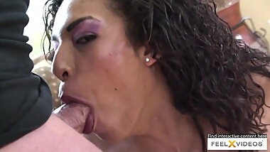 Curly brunette milf Desiree rides that cock in cowgirl